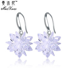 2018 New arrival ice snow flower design 925 sterling silver ladies Drop snowflake earrings jewelry birthday