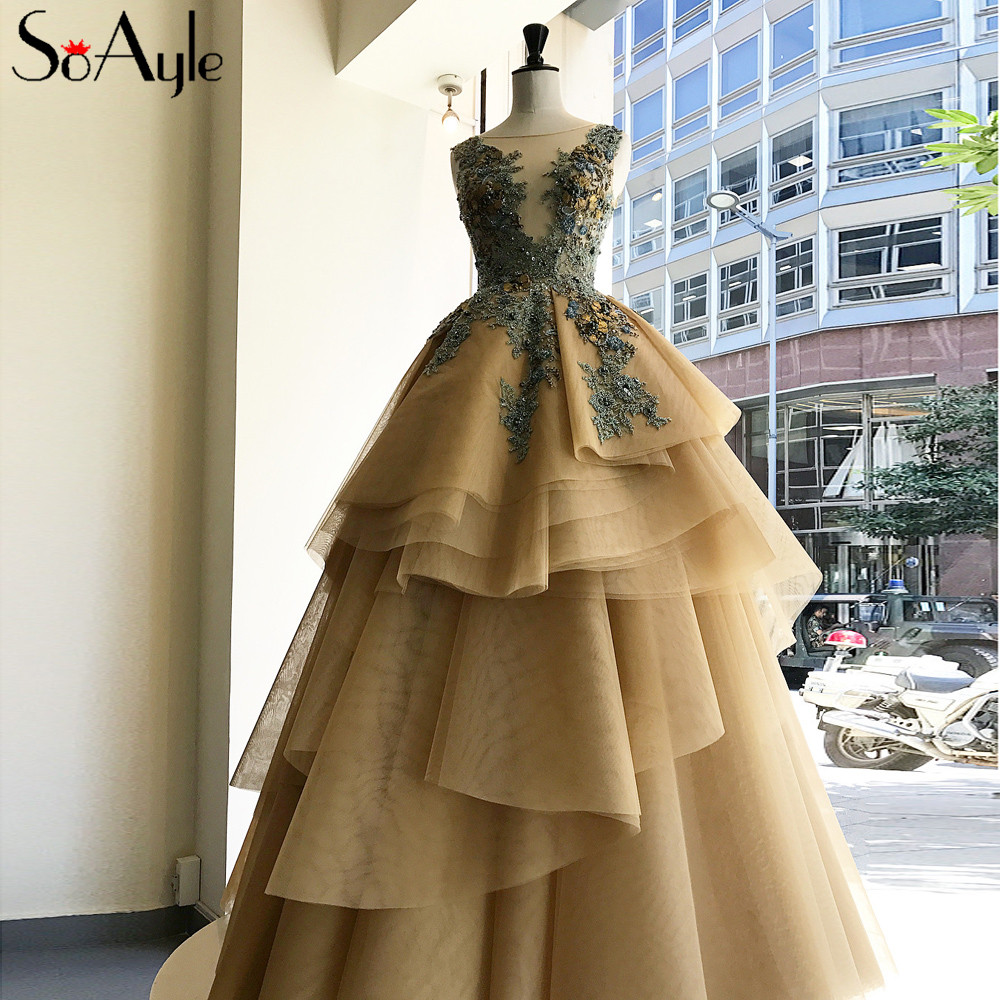 SoAyle Ball Gown Vestidos de festa Plus Size Prom Dresses Ball Gown Tulle  Ruffles Beading Long 2f23770834a4