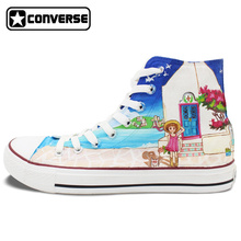 Women Men Converse Chuck Taylor Girls Boys Shoes Coastal City Beach Summer Style Design Hand Painted High Top Canvas Sneakers