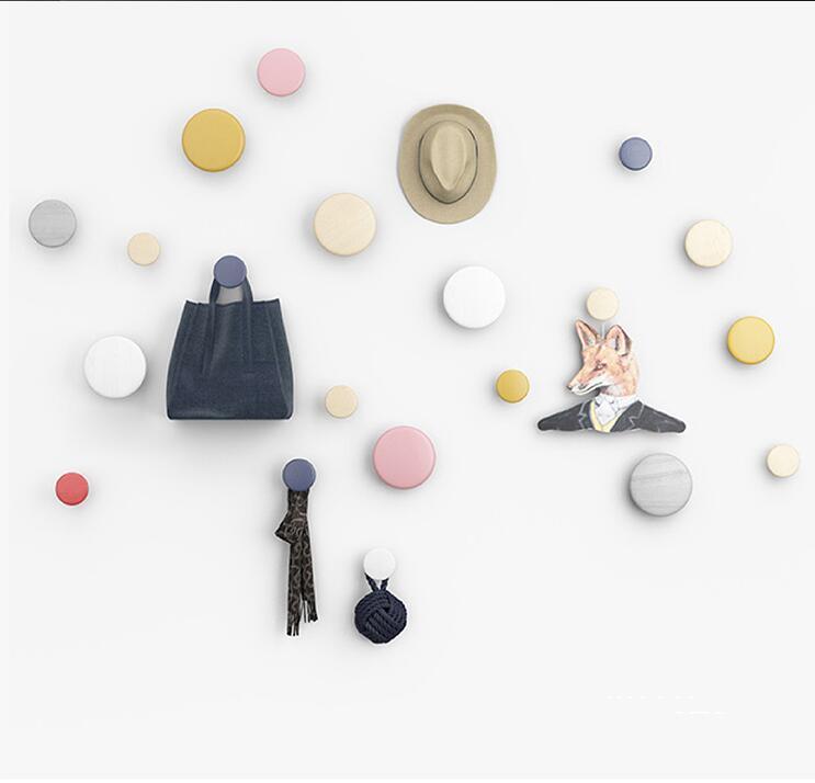 Kiváló minőségű kreatív fali horog díszítés fa gomba horog hálószoba ajtó után Hooks 3D kabát horog egyetlen fal hange ajándék