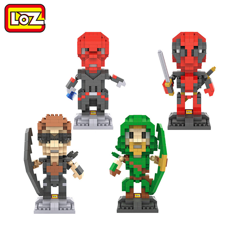 LOZ Building Blocks 9cm Deadpool Arrow Hawkeye Red Skull Action Figure Model Toy Children Educational DIY Toy Limited Collection loz 280pcs l 9522 deadpool action figure building block educational diy toy