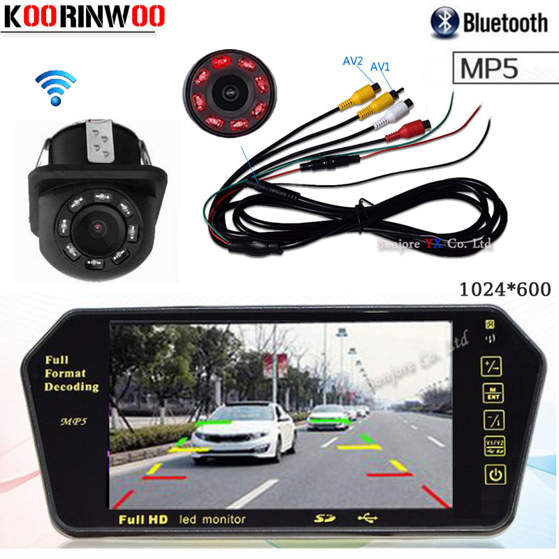 Koorinwoo HD CCD 7 Inch 1024*600 Car Monitor Mirror TF USB Slot Bluetooth MP5 player With Night Vision Parking rearview camera Koorinwoo HD CCD 7 Inch 1024*600 Car Monitor Mirror TF USB Slot Bluetooth MP5 player With Night Vision Parking rearview camera