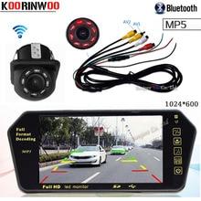 Koorinwoo HD CCD 7 pollice 1024*600 Car Monitor Dello Specchio di TF USB Slot Bluetooth lettore MP5 Con Visione Notturna parcheggio telecamera per la retromarcia