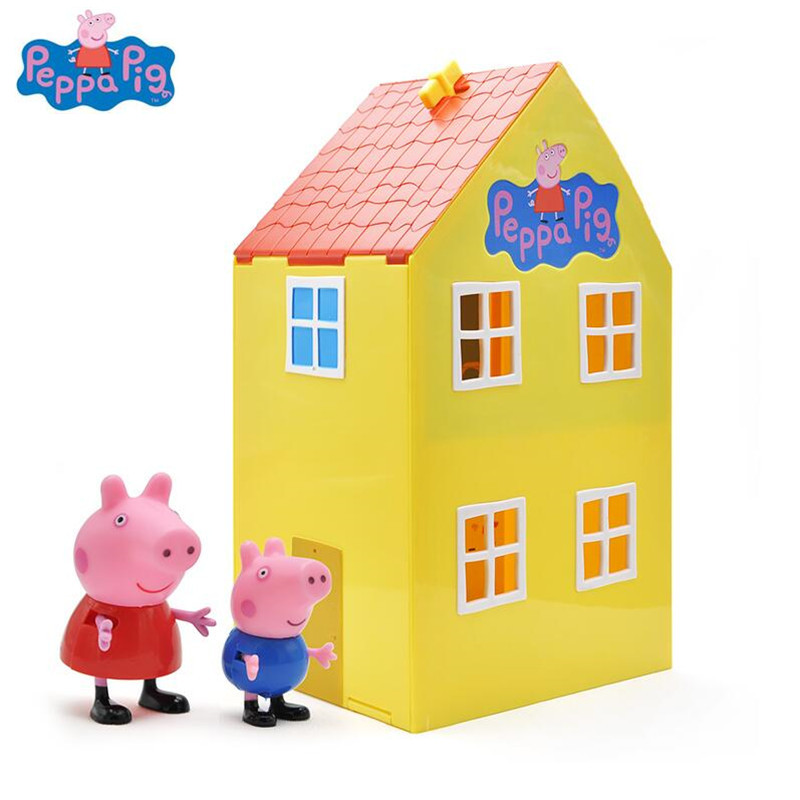где купить Peppa pig George pig Family Series of Amusement park pink peppa pig Toys PVC Action Figures Family Member Toy Baby Kid gifts по лучшей цене