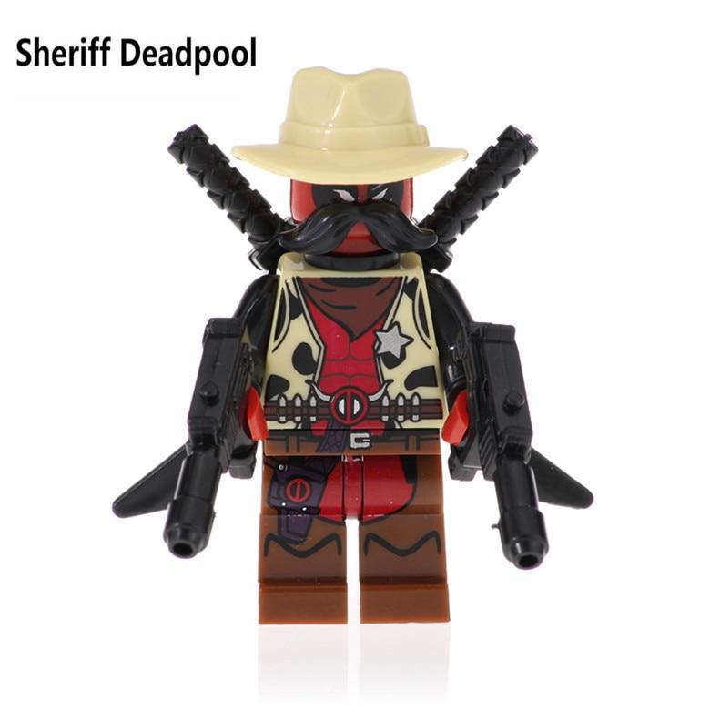 SDCC deadpool Marvel Figures Sheriff Deadpool 2 Domino Cable Peter Armed Black Lightning Model Building Blocks Kids Toys Bricks