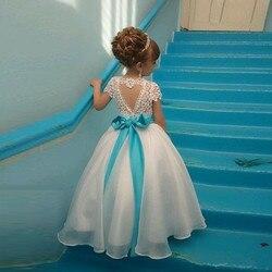 Новые платья с цветами для девочек, кружевной топ с лентой, одежда для маленьких девочек, платье на день рождения, Рождество, причастие, любо...