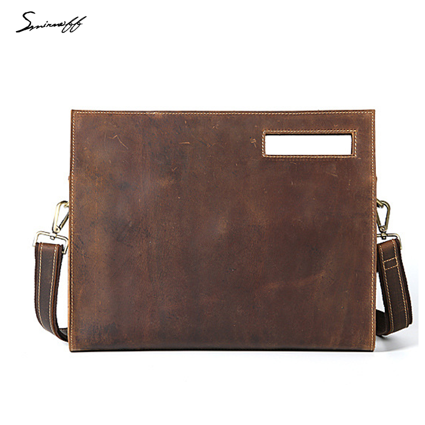 High Quality Vintage Leather Handbags Men Business Briefcase Small Crossbody Bags Luxury Genuine Leather ipad Bag
