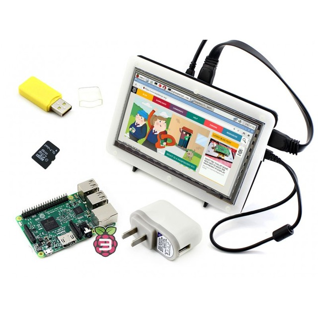 Módulo RPi3 B Pacote F # Raspberry Pi 3 Modelo B + 7 polegadas hdmi lcd 1024*600 ips tela sensível ao toque + bicolor caso + 8 gb cartão micro sd + power