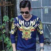 Men T Shirt Luxury Brand Clothing Long Sleeve Cotton T Shirt 2016 Autumn Male High Quality