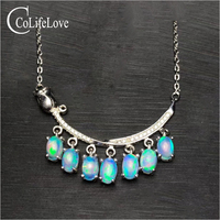 Elegant opal necklace for evening party 7 pcs natural Australia opal silver necklace 925 sterling silver opal jewelry