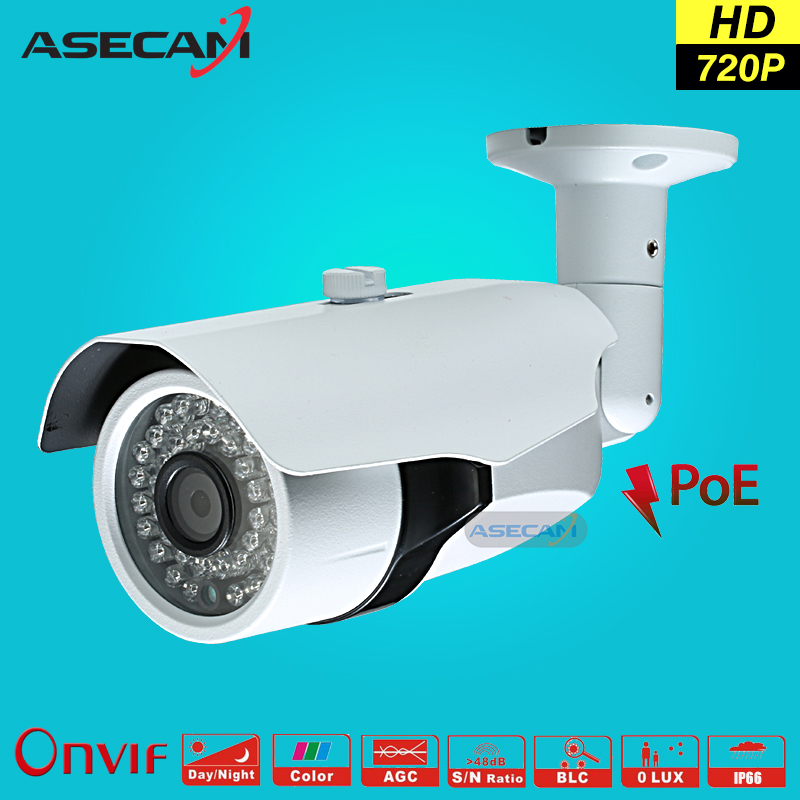 HD 720P CCTV Infrared IP Camera 48V POE White Bullet Metal Waterproof Outdoor Onvif WebCam Security Network Surveillance p2p wistino white color metal camera housing outdoor use waterproof bullet casing for cctv camera ip camera hot sale cover case