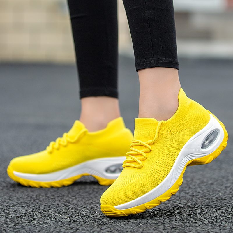 Black Yellow Chunky Sneakers Women Running Shoes Pink Breathable Flat  Platform Shoes Woman Sock Sneaker Wedges Shoes For Women
