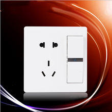 цена на White 86 Type Wall Socket Panel 5-Pins Outlet Electric 10A Home Decoration Sockets 2 Holes And 3 Holes With independent switch