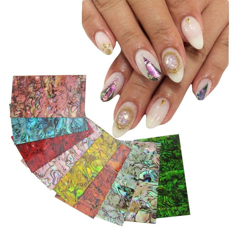 9 colori scelta Hot gusci naturali popolari Giappone stile 3d shell sticker nail art decorazione strumenti YX152