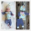 Цветок Новорожденных Девочек комплект одежды Девушки с длинным рукавом Дети Толстовки + брюки + шапки Infantil bebe одежда наборы малыш ткань верхняя одежда