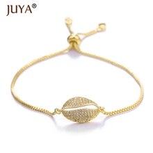 Juya 2019 Summer New Seashell Bracelet For Women Girls Luxury AAA Zircon Rhinestone Sea Shells Charm Bracelets Femme Gift