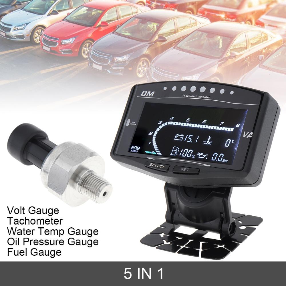 Universal 5 In 1 LCD Electronic Oil Pressure Gauge & Volt Voltmeter & Water Temperature Gauge & Fuel Gauge & Tachometer for Car
