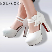 Plus Size 34-46 New Sexy High Heels Shoes Women Pumps Sweet Luxury Wedding Shoes Hook Loop Ankle strap Pumps party dress Sandals недорого