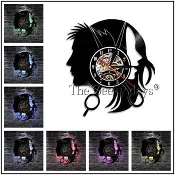 Barber Shop Vinyl Record Wall Clock Modern Design Beauty Salon Store Vintage 3D Timepiece Haircut horloge Hairdresser Gift 19