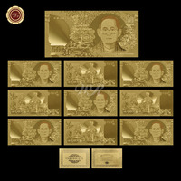 WR Gold Decorations Pure Gold Plated Banknote Hot Sale Tahiland Bhumibol Adulyadej Commemorative Souvenir Gifts Worth Collection