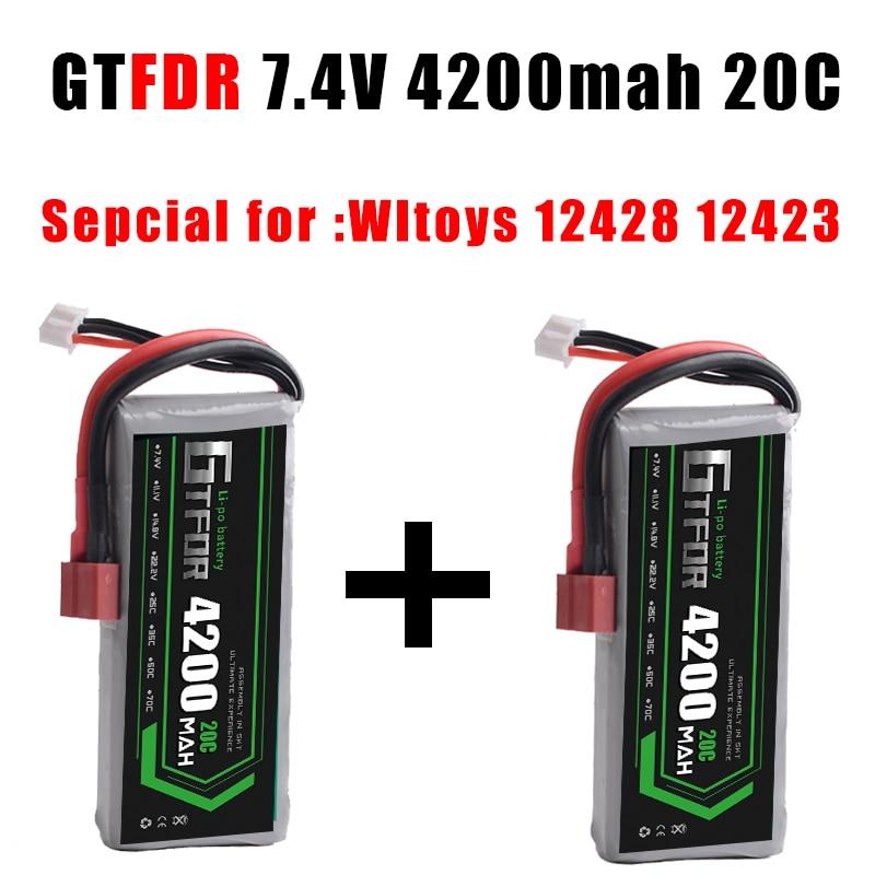 GTFDR 2PCS Rc Lipo Battery 2S 7.4V 4200mah 20C Max 40C for feiyue 03 Wltoys 12428 12423 1:12 RC Car Spare parts