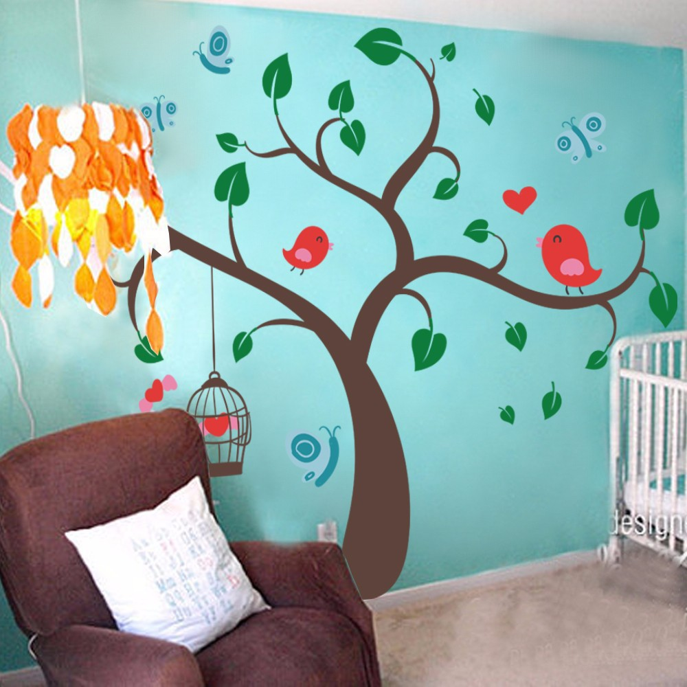 Children Wall Decals Tree Wall Decals And Butterfly Birds Wall
