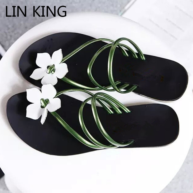 5ed18ee6c5cce LIN KING Fashion Solid Flower Women Summer Beach Flip Flops Lady Slippers  Comfortable Low Heel Outdoor