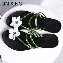 Купить с кэшбэком LIN KING Fashion Solid Flower Women Summer Beach Flip Flops Lady Slippers Comfortable Low Heel Outdoor Slippers Buty Damskie