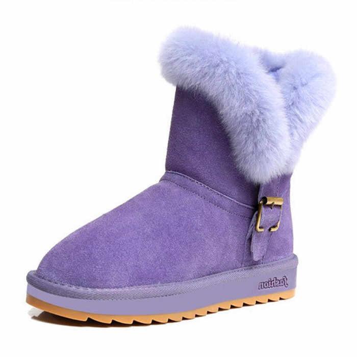 422a39da6 Женские Зимние угги из натуральной кожи; зимние ботинки теплые удобные до  середины икры на плоской