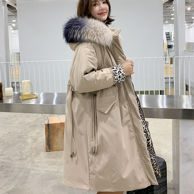 Real Natural Raccoon Fur 2019 Long Down Parkas Winter Women New Loose Hooded White Duck Down Jacket Female Thick Warm Down Coat