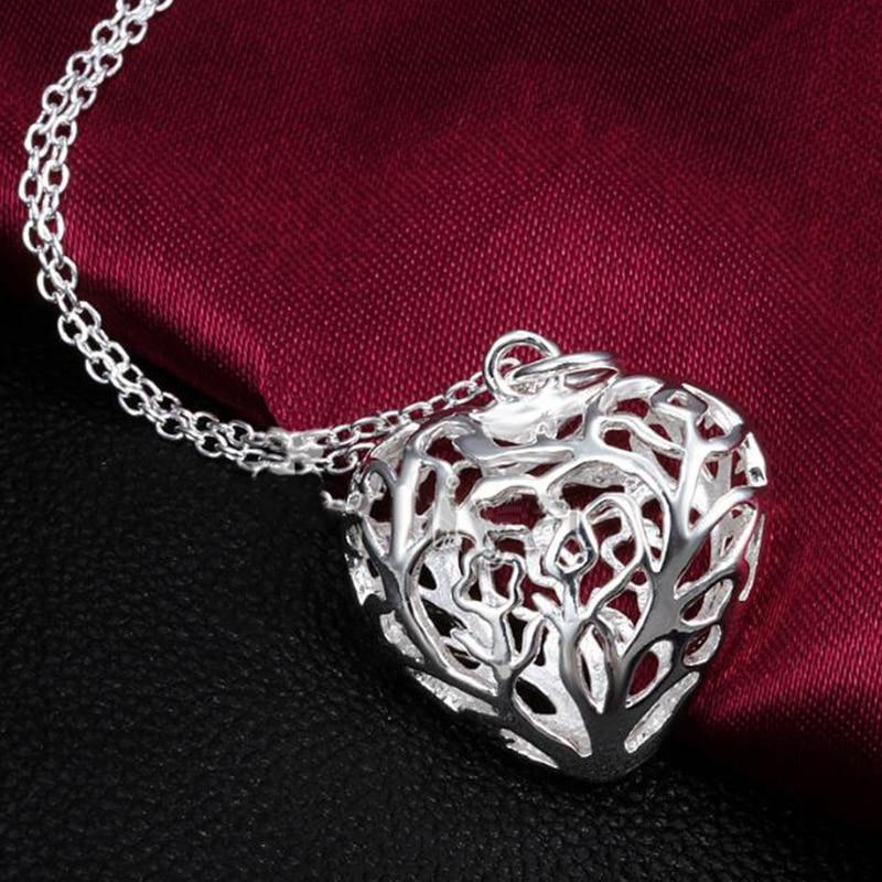 Wedding Gift For Friend Female: Elegant Silver Plated Heart Pendant Necklace Women Wedding