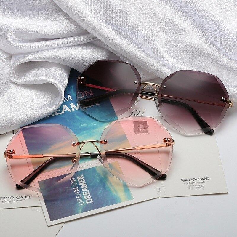 Luxury Brand Design Frameless Polarized Sunglasses Womens Lady Fashion Sun Glasses Female Driving Eyewear Radiation protection