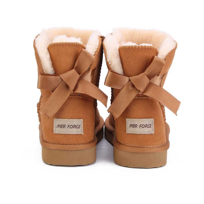 ה-MBR כוח אופנתי נשים חם שלג מגפי חורף מגפי אמיתי עור פרה עור נשים מגפי קרסול מגפי פרווה נעלי גודל 34 -44