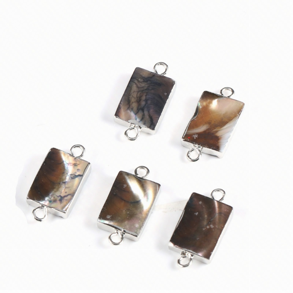 Silver Square Natural Stone Connector DIY Jewelry Bracelet Necklace Charm Jewelry Production10*21mm