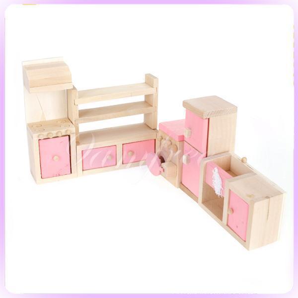 Dollhouse Furniture Miniature Wooden Kitchen Equipment Set Kid Pretend Play Toy