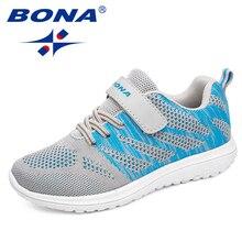 BONA חדש הגעה פופולרי סגנון ילדי נעליים יומיומיות Mesh סניקרס בנים & בנות שטוח ילד נעלי ריצה אור מהיר יפין חינם