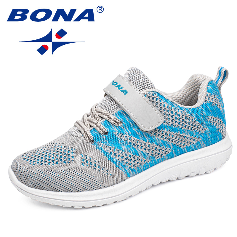 BONA nueva llegada estilo Popular niños zapatos casuales Zapatillas de malla niños y niñas zapatos planos para correr luz envío rápido