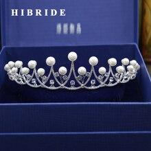 HIBRIDE Boda Nupcial Corona de La Perla Mujeres de Joyería de Moda Accesorios para el Cabello de Coper Color Oro Blanco bijoux cheveux C-07