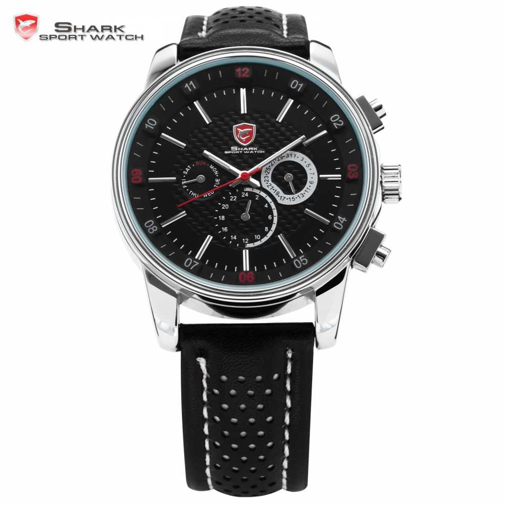 Pacific Angel SHARK Sport Watch 6 Hands Calendar Stainless Steel Case Black Leather Relojes Men Quartz Wrist Tag Timepiece/SH092