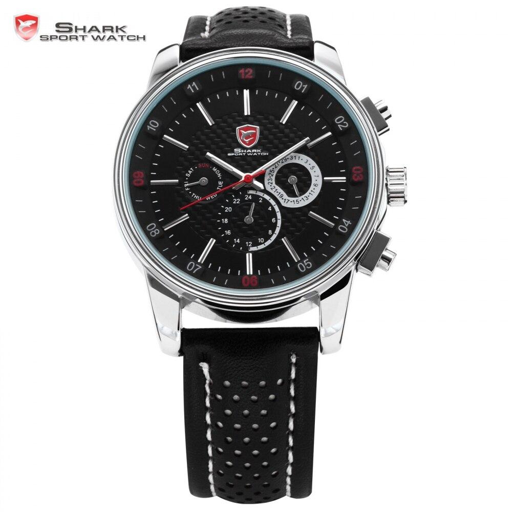 Pacific Angelo SHARK Sport Watch 6 Mani Calendario Cassa In Acciaio In Pelle Nera Relojes Uomini Da Polso Al Quarzo Tag Orologio/ SH092