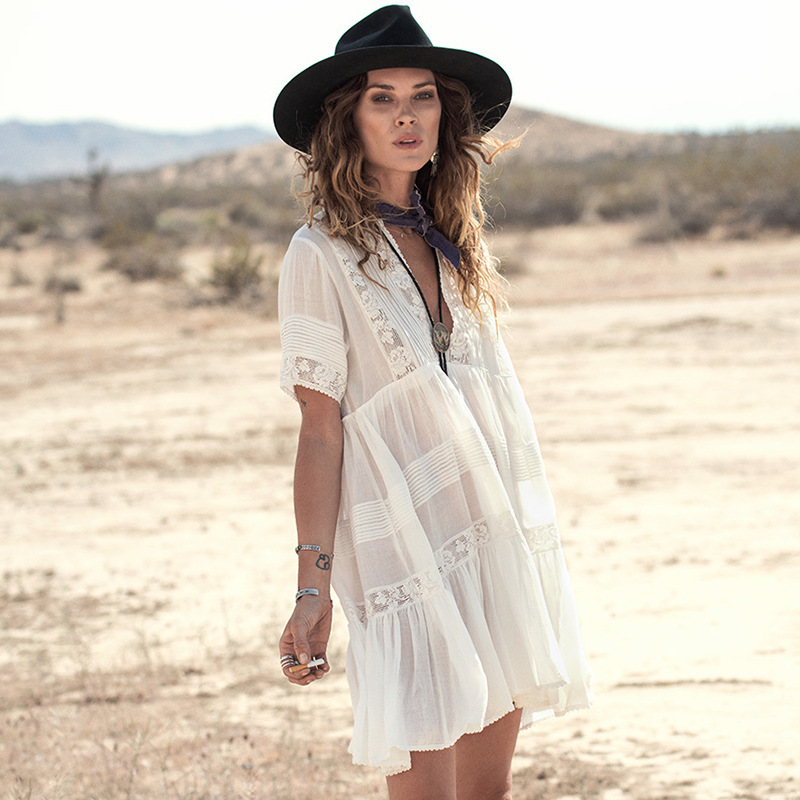 f809c62f3f5bc 2018 Bohemian white sweet lace dress women's beach style summer dresses  short sleeve cotton dress pleated holiday loose dress-in Dresses from  Women's ...