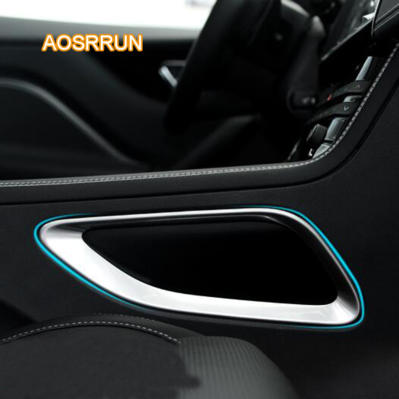 AOSRRUN ABS electroplating control border decorations decoration interior light bar Cover Car Accessories For Jaguar F-PACE 2017