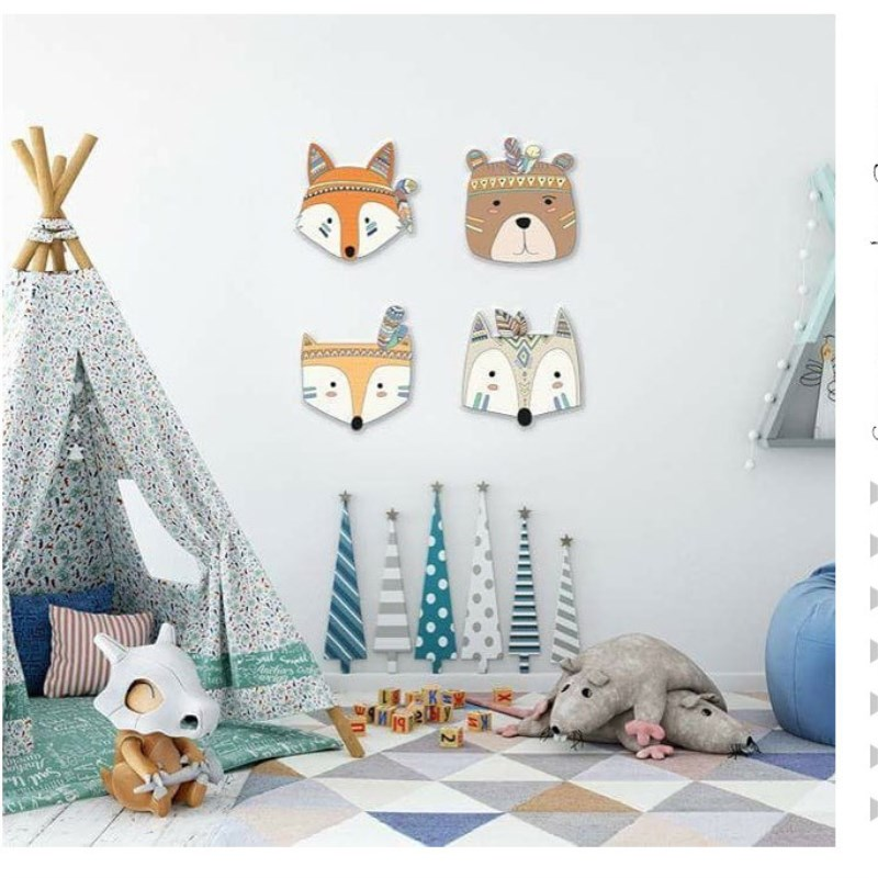 Ins Nordic Style Wooden Animal Head Furniture Ornament Wall Decor Miniatures Baby Kids Room Decoration Photography Props Gifts in Figurines Miniatures from Home Garden