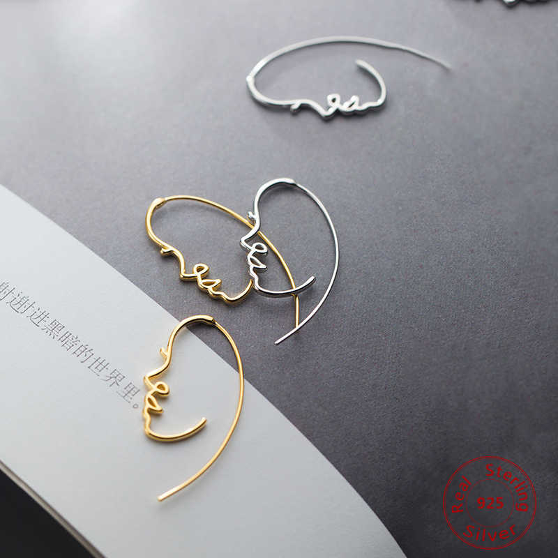 S925 Silver Unusual  Earrings Female Japanese Style Simple Hollow Creative Face Fashion Big Earrings