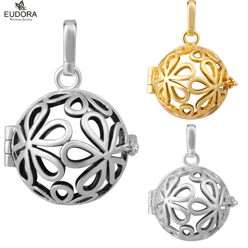 3PCS Charm Daisy Pregnancy Floating Locket Cage Pendant Jewelry Fashion Copper Eudora Harmony Ball Cages fit Mexican Bola