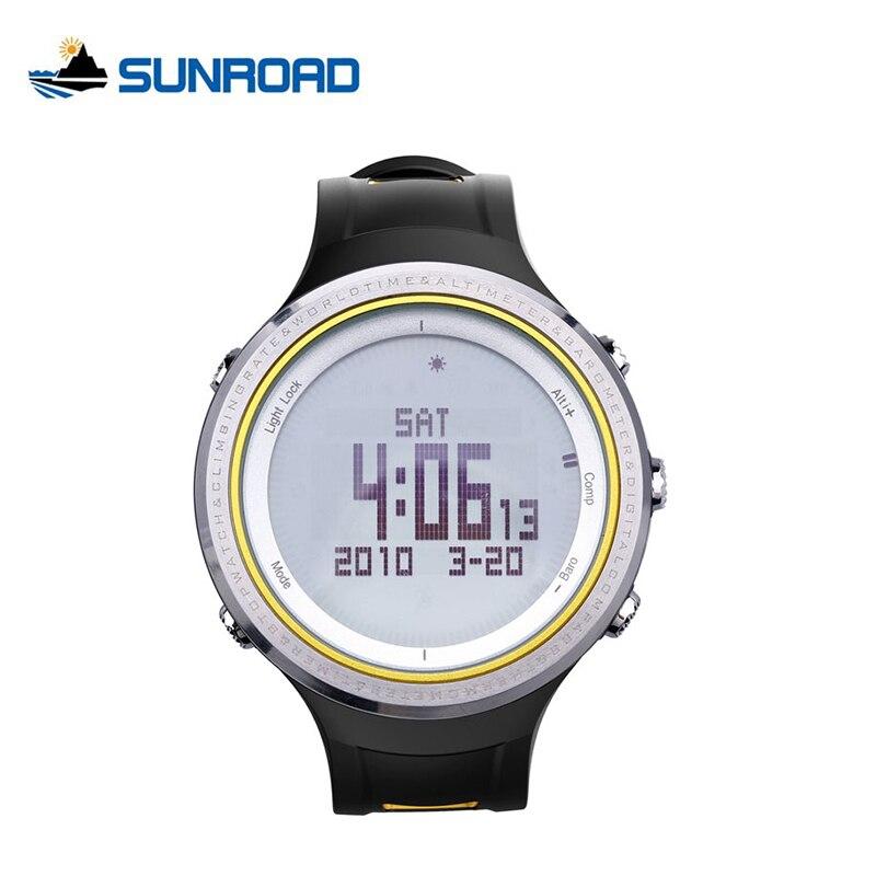 цена  SUNROAD Outdoor Sports Fishing Watch Waterproof Digital Compass Pedometer Barometer Thermometer Watches Alarm Relogio Masculino  онлайн в 2017 году