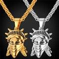 Rebelde americano Colgante Retro Punk Encantos de la Joyería de Hip Hop de Acero Inoxidable/Chapado En Oro de la Cadena de Los Hombres/de Las Mujeres Collar de la Declaración GP1897