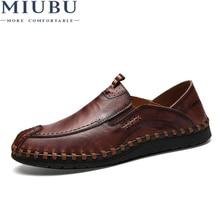 MIUBU Genuine Cow leather Mens shoes Fashion Handmade Moccasins Soft Leather Blue Slip On flats