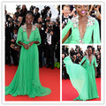 Sexy Lupita Nyong'o Emerald Green Chiffon Celebrity Dress Cannes Festival 2015 Appliques Evening Gowns Evening Dresses CD13