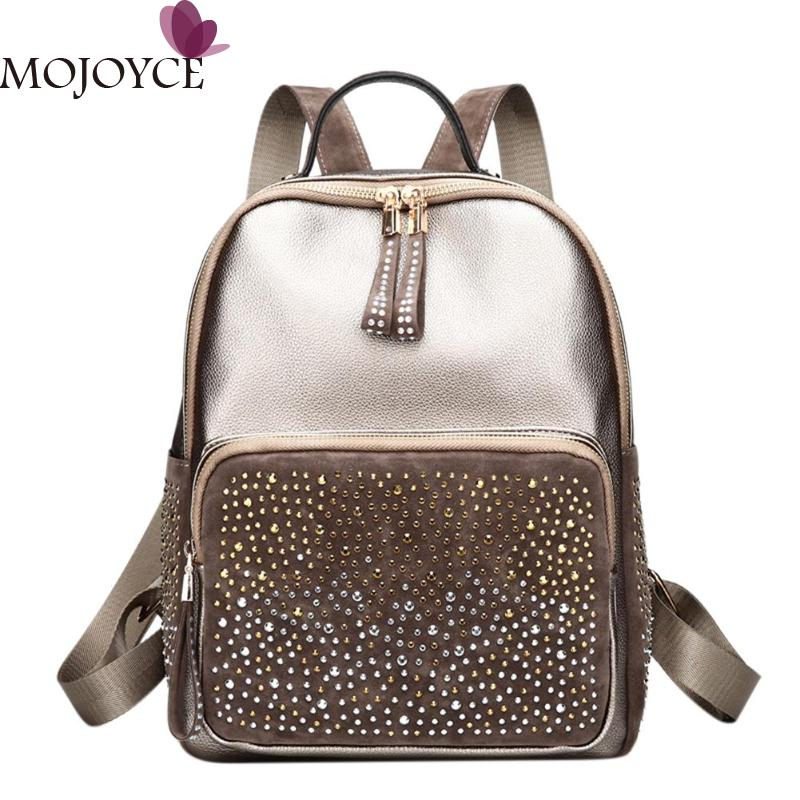 Fashion Women High-grade PU Leather Shining Rhinestones Backpack Adjustable Casual Vertical square Girl Small Shoulder Backpacks